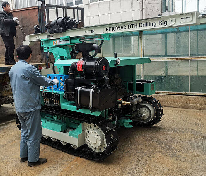 HF100YA2 DTH Drilling Rig And Air Compressor Sent To Mongolia